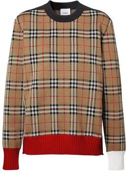 Burberry жаккардовый свитер в клетку 8037691