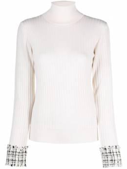 Dolce&Gabbana джемпер с высоким воротником и твидовыми манжетами FX839TJAM2X