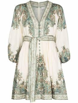 Zimmermann Brighton Paisley Print Mini Dress 9692DBRGLINEN