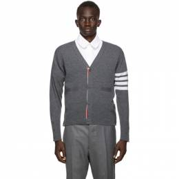 Thom Browne SSENSE Exclusive Grey Cashmere 4-Bar Cardigan MKC001A-00011