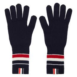 Thom Browne Navy Merino RWB Stripe Gloves MKG009A-Y1003