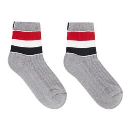 Thom Browne Grey RWB Stripe Athletic Socks MAS105A-Y3013