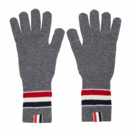 Thom Browne Grey Merino Rib RWB Stripe Gloves MKG009A-Y1003