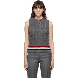 Thom Browne Grey Mohair Aran Cable Classic RWB Stripe Vest FKV135A-Y1502