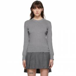 Thom Browne Grey Milano Stitch Intarsia RWB Stripe Sweater FKA317A-Y3007