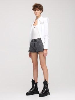 Washed Denim Shorts W/ Raw Cut Hem Off-White 73I3KW046-MDcwMA2