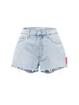 Washed Denim Shorts W/ Raw Cut Hem Off-White 73I3KW045-NDAwMA2
