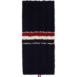 Thom Browne Navy Aran Tweed Funmix RWB Stripe Scarf MKS091A-Y1502