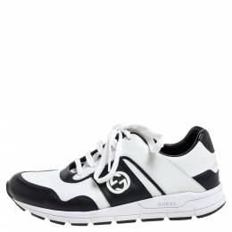Gucci Black/White Leather Miro Sneakers Size 40.5 361625