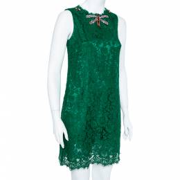 Dolce&Gabbana Green Lace Dragonfly Embellished Sleeveless Shift Dress S 360277