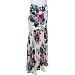 Roberto Cavalli Cream Floral Print Silk Satin Maxi Skirt S 360387