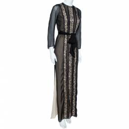Alice + Olivia Black Chiffon-Lace Side Slit Maxi Dress XS 360384