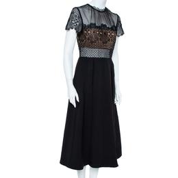 Self-Portrait Black Cotton Embroidered Felicia Midi Dress M 358579