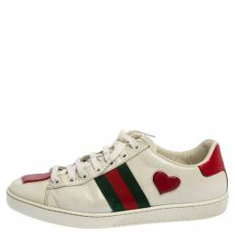 Gucci White Leather Ace Heart Embroidered Sneakers Size 38 359762