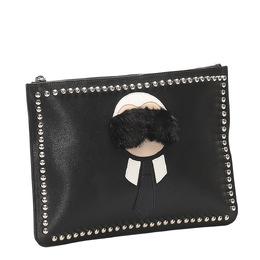 Fendi Black Leather Karlito Flat Clutch 358562