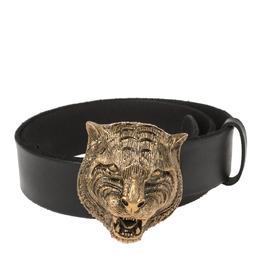 Gucci Black Leather Tiger Buckle Belt 80CM 361819