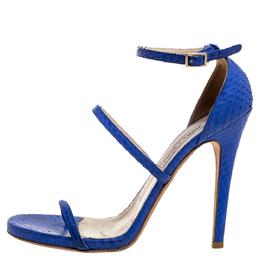 Jimmy Choo Blue Python Strappy Ankle Strap Sandals Size 39 360743