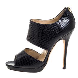 Jimmy Choo Black Python Private Sandals Size 38 360747