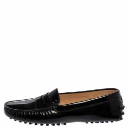 Tod's Black Patent Leather Penny Slip On Loafers Size 37 361506