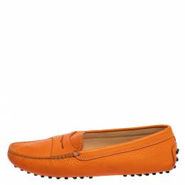 Tod's Orange Leather Penny Slip On Loafers Size 38 361502