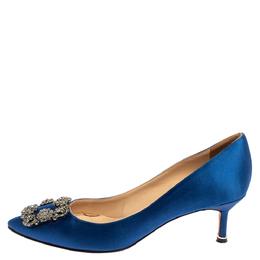 Manolo Blahnik Blue Satin Hangisi Pumps Size 37.5 362064