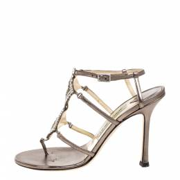 Jimmy Choo Metallic Bronze Leather Meira Crystal Embellished Sandals Size 37 358203