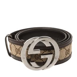 Gucci Brown/Beige GG Canvas and Leather Interlocking G Buckle Belt 95CM 361371