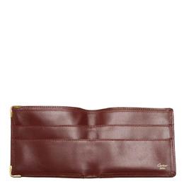 Cartier Burgundy Leather Must De Cartier Bi-fold Wallet 358548