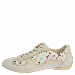 Louis Vuitton White Leather And Multicolor Monogram Canvas Lace Up Sneakers Size 34 360834