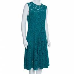 Ch Carolina Herrera Green Floral Lace Fit & Flare Dress L 360904