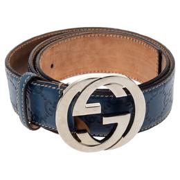 Gucci Blue Guccissima Leather Interlocking G Buckle Belt 85CM 361364