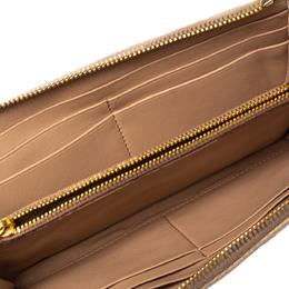 Prada Beige Leather Studded Zip Around Wallet 361360