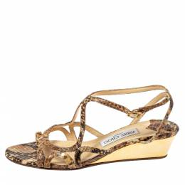 Jimmy Choo Brown Snakeskin Effect Leather Strappy Wedge Sandals Size 38 361178