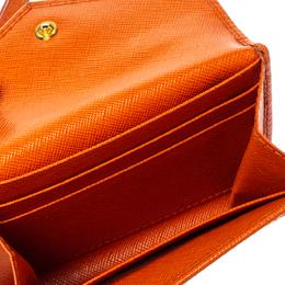 Prada Orange Saffiano Leather Wristlet Wallet 360775