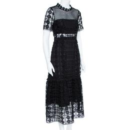 Self-Portrait Black Floral Lattice Lace Midi Dress M 358142