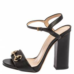 Gucci Black Leather Horsebit Ankle Strap Open Toe Block Heel Sandals Size 35.5 362039