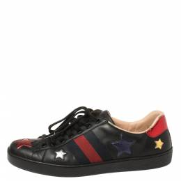 Gucci Black Leather Ace Metallic Stars Low Top Sneakers Size 43 361165