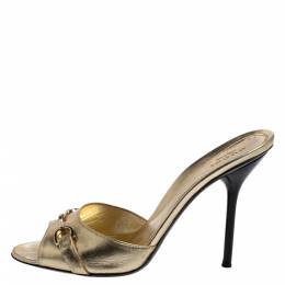 Gucci Gold Leather Horsebit Open Toe Slide Sandals Size 38 361543