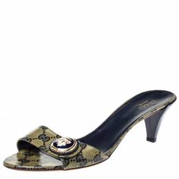 Gucci Navy Blue GG Crystal Canvas Hysteria Slide Sandals Size 39 361787