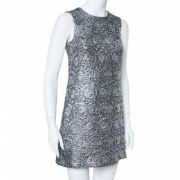 Dolce&Gabbana Silver Metallic Jacquard Shift Dress S 360303