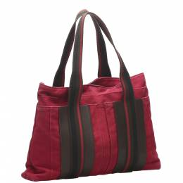 Hermes Red Canvas Sac Troca Horizontal MM Tote Bag 358480
