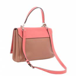 Louis Vuitton Pink/Brown Leather Lock Me MM Bag 357726