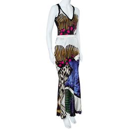 Roberto Cavalli Multicolor Silk Skirt and Top Set M 360436