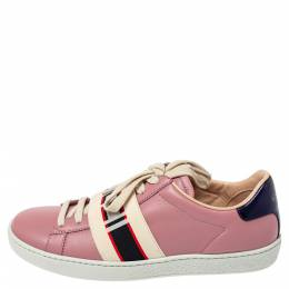 Gucci Pink Leather Ace Gucci Stripe Low Top Sneakers Size 36 361879