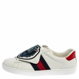 Gucci White Leather Ace Web Low Top Sneakers with Removable Patch Size 40 361114