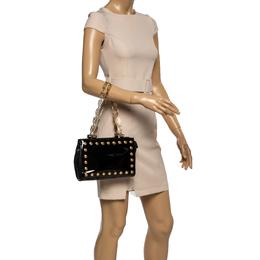 Versace Black Patent Leather Medusa Studded Chain Shoulder Bag 361183