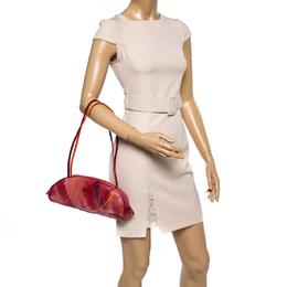 Dior Red/Orange Printed Patent Leather Half Moon Shoulder Bag 361480