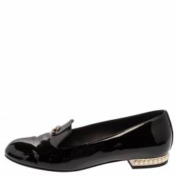 Chanel Black Patent Leather CC Faux Pearl Loafers Size 37 360702