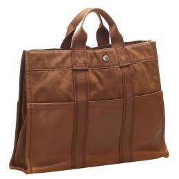 Hermes Brown Canvas Fourre Tout MM Bag 358730