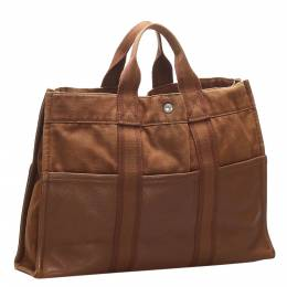 Hermes Brown Canvas Fourre Tout MM Bag 358731